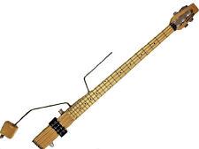 Ministar Basstar 4 String Bass Travel Guitar | Natural Finish | Built-in Amp