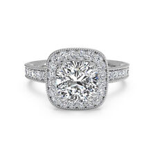 1.20 Ct Cushion Cut Solitaire Diamond Engagement Ring White Gold Finish Size M N