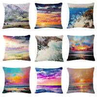 Sunset Scenery Cotton Linen Pillow Case Throw Cushion Cover Home Sofa Decor 18""