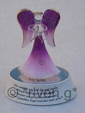 L.E.D. GUARDIAN ANGEL LIGHT UP RELIGIOUS WORSHIP BOX GIFT@PURPLE BIBLICAL CANDLE