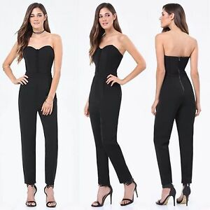 BEBE BLACK LACE UP SWEETHEART JUMPSUIT ROMPER NEW $129 XSMALL XS