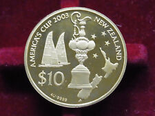 New Zealand. 2002 Gold - 10 Dollars.  .4963oz.  America's Cup..   Proof - Cased