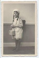 BP235 Carte Photo vintage card RPPC Enfant écolière avec panier repas