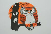 Vintage Owl - LARGE -  Halloween Die Cut Cardboard Decoration - FREE SHIPPING