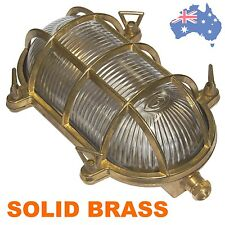 SOLID BRASS OVAL BULKHEAD BUNKER LIGHT 24cm Waterproof Exterior Nautical cage IP