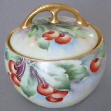Antique Hand Painted Porcelain Covered Condiment JAM Pot * CHERRIES w GILT Trim