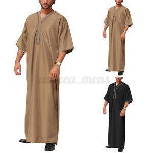 US STOCK Men's Short Sleeve Saudi Jubba Dishdasha Kaftan Arab Islamic Long Dress