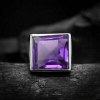 Solid 925 Sterling Silver AAA Natural Amethyst Gemstone Mens Unisex Ring Jewelry