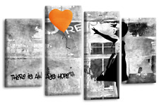 """BANKSY ART PICTURE ORANGE GREY CANVAS GIRL WITH BALLOON WALL 4 PANEL 40 x 27"""""""