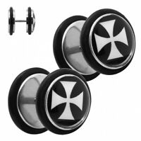 Fake Plugs Ø 12mm Piercing Ohrstecker Eisernes Kreuz Tunnel Fakeplugs Edelstahl