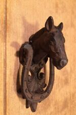 "Horse Cast Iron Door Knocker Fleur-De-Lis 6 1/2"" Tall Door Decor 0170-11618"