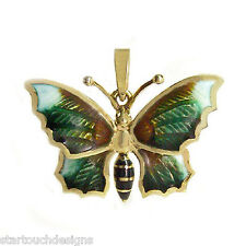 New 14k Yellow Gold Enameled Butterfly Pendant