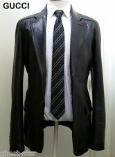 GUCCI black leather jacket blazer sport coat red green military slim fit 40 50 M