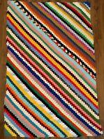Handmade Crochet Granny Knit Soft Acrylic Afghan Knitted Throw Blanket 41x65