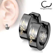 Mens Surgical Steel Black IP Huggie Hoop Hinged Earrings With Gold Dragon