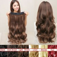 Thick Long Multicolor Hair Extensions With Clip Wavy Curly Synthetic Full Head