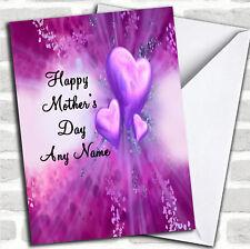 Corazones púrpura El Dia De La Madre Tarjeta Personalizada