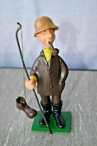 Wilton Man Fishing w Boot on Pole with Pipe Plastic Figure 1971 Funny Vintage