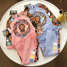 1 Set New Kids Boy Girl Bape Colorful Circle Monkey Sweatershirt Hoodies+ Pants