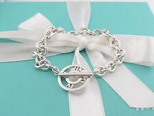 "Auth Tiffany & Co Silver Atlas Charm Toggle Circle Bracelet Bangle Rare 8"""