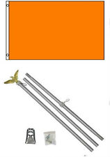 2x3 2'x3' Advertising Solid Orange Flag Aluminum Pole Kit Set