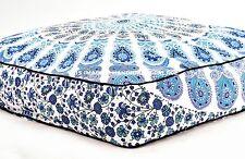Peacock Mandala Printed Square Pets Bed Decorative Cotton Floor Pillow Cushion