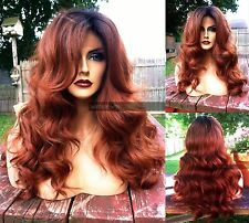 """USA: Human HAIR BLEND 4x4"""" Swiss LACE FRONT Wavy Auburn Brown Red Wig"""