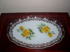 CHANCE GLASS FIESTAWARE YELLOW ROSE VINTAGE OVAL SERVING PLATTER/DISH/PLATE