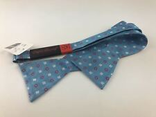 English Laundry 100% Silk Blue Floral Bow Tie
