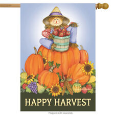 "Harvest Scarecrow Autumn House Flag Happy Harvest Fall 28"" x 40"" Rain or Shine"
