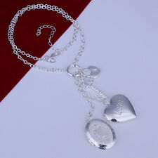 """925Sterling Silver Jewelry 2 Photo Frame Heart Lock Key Woman Necklace 18"""" NY007"""