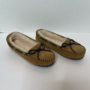 VINEYARD VINES Women's brown shearing Suede Slippers size 8 warm Shoes