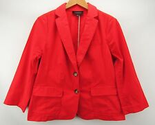 Talbots NEW Stretch Cotton Twill Two Button Blazer Jacket Red Size 10 $99