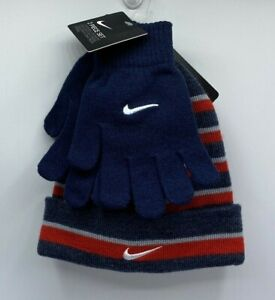 Boys 4-20 Nike Foldover Beanie / Hat Gloves Set One Size Fits Most New