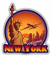 """Welcome To New York Travel Label Car Bumper Sticker Decal 5"""" x 5"""""""