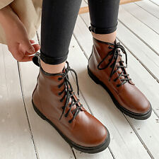 Women's Low Heel Ankle Boots Martin Combat Lace-Up Ladies Booties Shoes US 6
