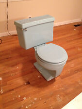 Retro Blue Toilet Eljer water closetl Matching Seat 1970s 1960s bathroom old