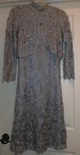 NEW SOULMATES Crochet Silk Dress & Jacket 2 PC  $418 SIZE SMALL 4-6 FROST BLUE