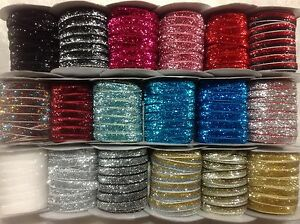 "3/8""10 mm Sparkle Glitter Velvet Ribbon, Headband Clips Bow Decoration 🎀 Xmas"