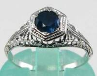 CRISP 9K 9CT WHITE GOLD Sri Lankan BLUE SAPPHIRE SOLITAIRE ART DECO INS RING