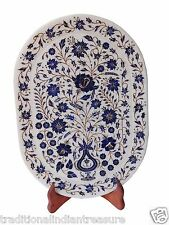Indian White Makrana Serving Tray Lapis Lazuli Marquetry Inlay Floral Art Decor