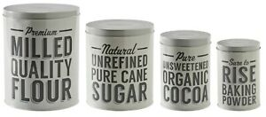 Mason Cash Set of 4 Retro Kitchen Storage Tins Containers Cocoa Sugar Flour Tin