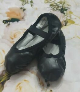 Angelo Luzio Black Leather Toddler Full Sole Leather Ballet Shoe 8.5N