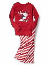 GAP GIRL'S RED TWO-PIECE CHRISTMAS CANDY CANE PENGUIN PAJAMAS $39.95 SZ 3 BNWT
