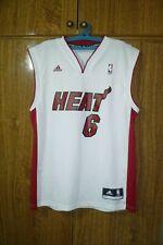 Miami Heat Adidas NBA Jersey #6 LeBron James Basketball White Men Size M Medium