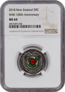 2018 NEW ZEALAND 50 CENTS WW1 100TH ANNIV. COLORIZED NGC MS 64