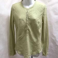 Banana Republic M Top Green Linen Henley Flared Slit Long Sleeve Peasant Shirt