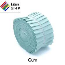 """20 x 2.5"""" Gum Green Jelly Roll PreCut Fabric Strips, 2.5 inch x WOF, Die Cut"""