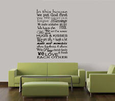 IN THIS HOUSE WE PUT GOD FIRST VINYL LETTERING WALL DECAL WORDS DECOR STICKER