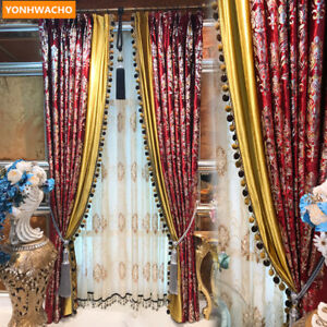 Red Bronzing gold Damascus window velvet cloth blackout curtain tulle drape B069